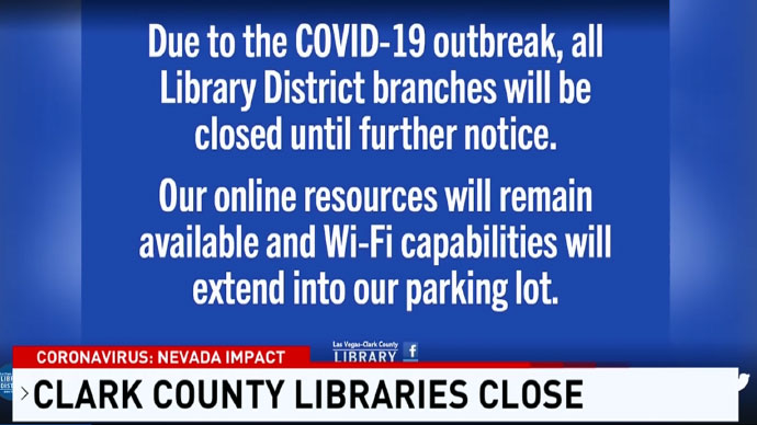 Las-Vegas-Clark County Libraries Close Due to COVID-19 Precautions But Online Resources Remain Available
